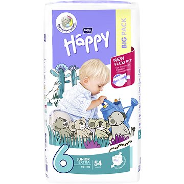 Plenky Bella Baby Happy Junior extra Big Pack 54 ks + ZDARMA Dětské vlhčené ubrousky BELLA Happy Classic Sensitive (56 ks)