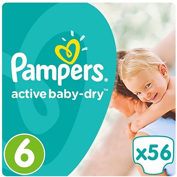 PAMPERS Active Baby-Dry vel. 6 Extra Large (15 kg+) 56 ks (4015400736424)