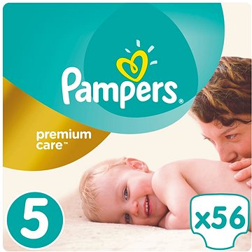 PAMPERS Premium Care vel. 5 Junior (56 ks) (4015400507550) + ZDARMA Vlhčené ubrousky PAMPERS Sensitive (56 ks)