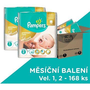 PAMPERS Premium Care vel. 1 Newborn + vel. 2 Mini (168 ks) - měsíční zásoba (4015400817659)