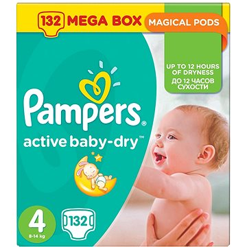 PAMPERS Active Baby-Dry vel. 4 Maxi Mega Box (132 ks) (4015400265238)