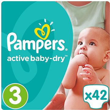 PAMPERS Active Baby-Dry vel. 3 Midi (5-9 kg) 42 ks (4015400537427)