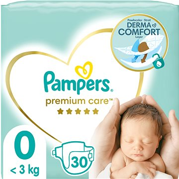 PAMPERS Premium Care vel. 0 Newborn (30 ks) (4015400536857) + ZDARMA Vlhčené ubrousky PAMPERS Sensitive (56 ks)