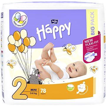 BELLA Baby Happy vel. 2 Mini (78 ks) (5900516602840) + ZDARMA Dětské vlhčené ubrousky HAPPY Baby Čisticí ubrousky 24 ks