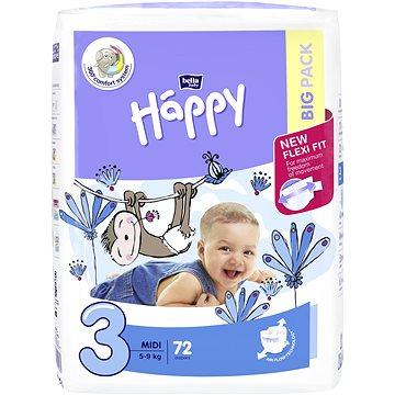 BELLA Baby Happy vel. 3 Midi (72 ks) (5900516602864) + ZDARMA Dětské vlhčené ubrousky HAPPY Baby Čisticí ubrousky 24 ks