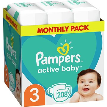 PAMPERS Active Baby-Dry vel. 3 Midi (208 ks) (8001090172518)