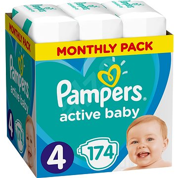 PAMPERS Active Baby-Dry vel. 4 Maxi (174 ks) (8001090172556)