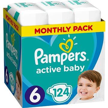 PAMPERS Active Baby-Dry vel. 6 Extra Large (124 ks) - měsíční balení (8001090448422) + ZDARMA Prací gel ARIEL Baby 1,3 l (20 dávek)