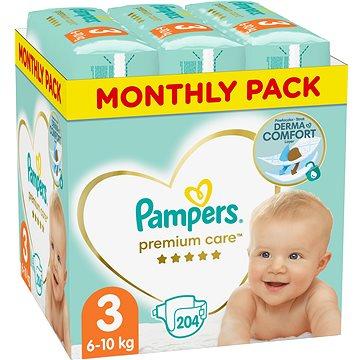 PAMPERS Premium Care vel. 3 Midi (204 ks) - měsíční balení (8001090379498)