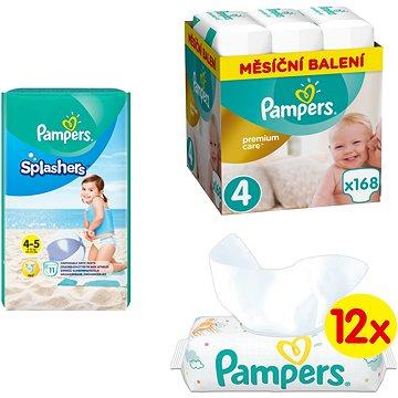 PAMPERS Premium Care vel. 4 Maxi (168 ks) + PAMPERS Splashers vel. 4 (11 ks) + PAMPERS Sensitive (12