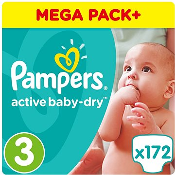 PAMPERS Active Baby-Dry vel. 3 Midi (5-9 kg) 172 ks (8001090459602)