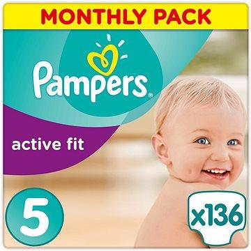 PAMPERS Active Fit vel. 5 (136 ks) - měsíční balení (4015400557548) + ZDARMA Prací gel ARIEL Baby 1,3 l (20 dávek)