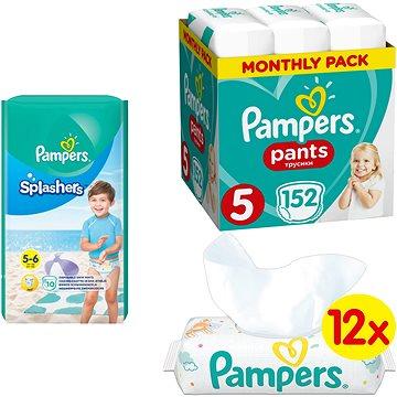 PAMPERS Pants vel. 5 (152 ks) + PAMPERS Splashers vel. 5 (10 ks) + PAMPERS Sensitive (12 x 56 ks)