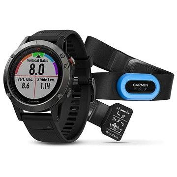 Chytré hodinky Garmin Fenix 5 Gray Optic TRI Performer Black band (010-01688-30) + ZDARMA Proteinová tyčinka MAXSPORT Protein vanilka 60g