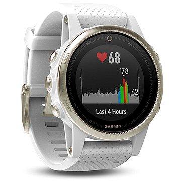 Chytré hodinky Garmin Fenix 5S Sapphire Champagne Optic Suede band (010-01685-13) + ZDARMA Proteinová tyčinka MAXSPORT Protein vanilka 60g