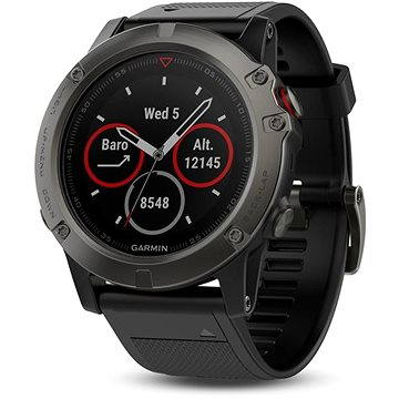 Chytré hodinky Garmin Fenix 5X Sapphire Gray Optic Black Band (010-01733-01) + ZDARMA Proteinová tyčinka MAXSPORT Protein vanilka 60g