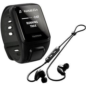 Sporttester TomTom GPS hodinky Spark Fitness Cardio + Music (S), černá + bluetooth sluchátka (1RFM.003.05)