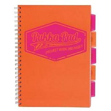 PUKKA PAD Project Book Neon A4 čtverečkovaný, oranžový (7082-NEO) + ZDARMA Sušenky NESTLÉ Cini Minis Promo ORBIT žvýkačky 14g - peppermintové dražé