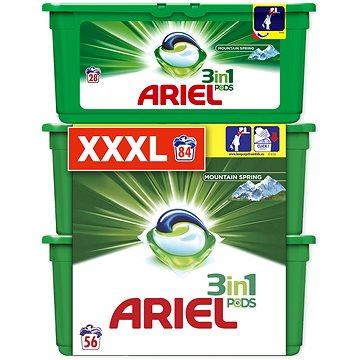 Sada drogerie ARIEL Mountain Spring 3in1 28 + 2×28 ks (celkem 84 praní)