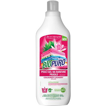 BIOPURO Organický tekutý prací gel na barevné prádlo 1 l (35 praní) (8057432977044)