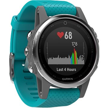 Chytré hodinky Garmin Fenix 5S Silver Turquoise band (010-01685-01)