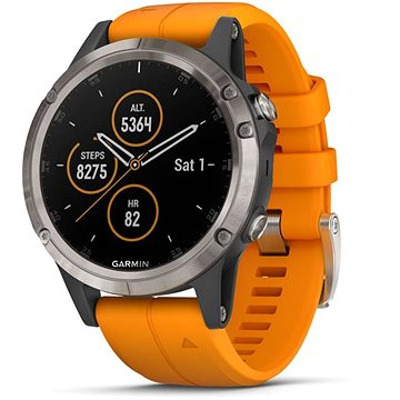 Garmin Fenix 5 Plus Sapphire Titanium Orange Band (010-01988-05)