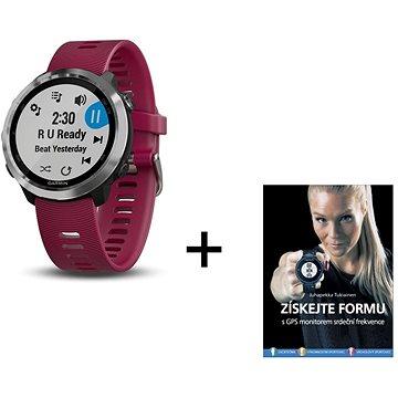 Garmin Forerunner 645 Optic Music Red + kniha Získejte formu s GPS monitorem srdečního tepu (PPfr64504BFRs)