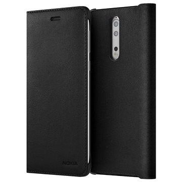 Nokia 8 Leather Flip Cover Black (FCB100-3AALWE1)