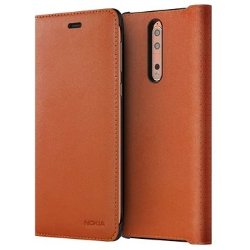 Nokia 8 Leather Flip Cover Tan Brown (PKB100-3AALWE1)