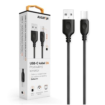 ALIGATOR datový kabel USB-C - USB 2.0, černý (DKAC82BK)