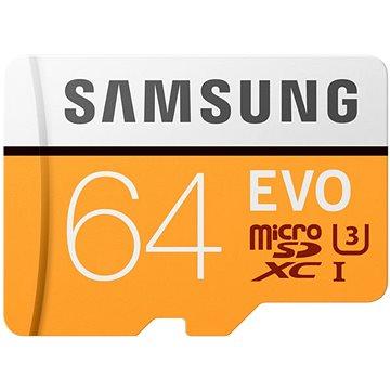 Samsung MicroSDXC 64GB EVO UHS-I U3 + SD adaptér (MB-MP64GA/EU)