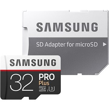 Samsung MicroSDHC 32GB PRO Plus UHS-I U3 + SD adaptér (MB-MD32GA/EU)