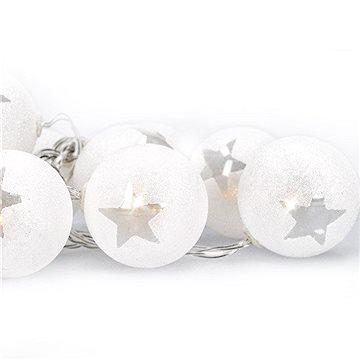 LED řetěz vánoční koule, 10LED, 1m, 2x AA, časovač, IP20 (1V226)