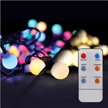 LED 2v1 venkovní vánoční řetěz, koule, dálkový ovladač, 100LED, RGB+bílá, 10m+5m, 8 funkcí, IP44 (1v08-rgb)