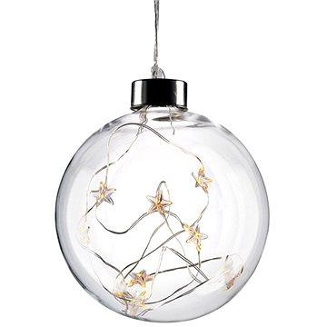 LED vánoční koule skleněná, 10LED, 2x AA, IP20 (1v204)