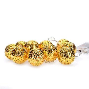 LED řetěz vánoční koule zlaté, 10LED řetěz, 1m, 2x AA, IP20 (1V207-G)