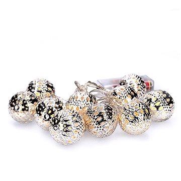 LED řetěz vánoční koule stříbrné, 10LED řetěz, 1m, 2x AA, IP20 (1V207-S)