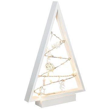 LED dřevěný vánoční stromek s ozdobami, 15LED, přírodní dřevo, 37cm, 2x AA (1v221)
