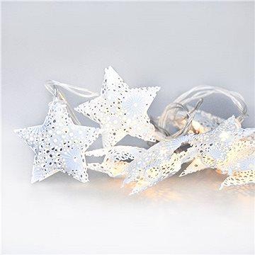LED řetěz vánoční hvězdy, kovové, bílé, 10LED, 1m, 2x AA, IP20 (1V224)