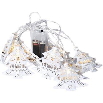 LED řetěz vánoční stromky, kovové, bílé, 10LED, 1m, 2x AA, IP20 (1V225)