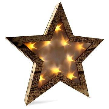 Solight LED dřevěná hvězda, teplá bílá (1V42)