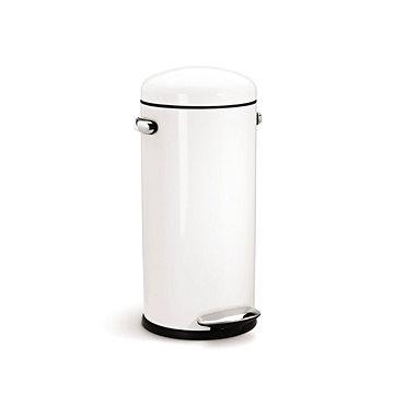 Odpadkový koš Simplehuman Pedálový koš Retro 30l, kulatý, bílá ocel (CW1259)
