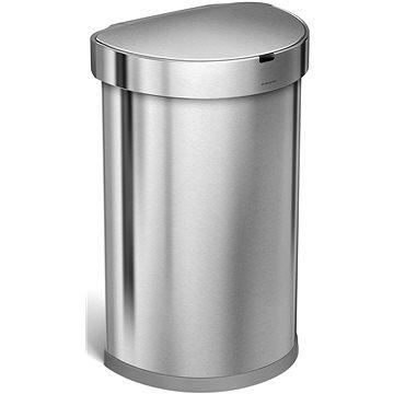 Odpadkový koš Simplehuman Bezdotykový koš 45l, půlkulatý, matná ocel, FPP, kapsa na sáčky (ST2009)