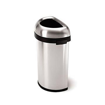 Odpadkový koš Simplehuman Koš na odpadky 60l, půlkulatý, otevřený, matná ocel (CW1468)