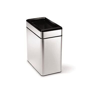 Simplehuman Koš na odpadky 10l, hranatý, otevřený, matná ocel (CW1225)