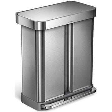 Simplehuman Pedálový koš na tříděný odpad 58l, matná ocel, FPP (CW2025)
