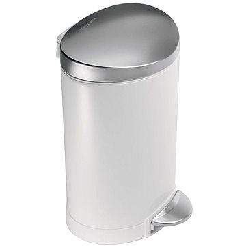 Odpadkový koš Simplehuman Půlkulatý pedálový koš 6l, FPP bílá/víko a pedál matná ocel (CW1835CB)
