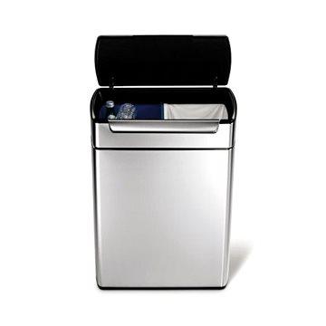 Odpadkový koš Simplehuman Dotykový koš na tříděný odpad 24/24l, hranatý, matná ocel, FPP (CW2018)