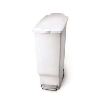 Odpadkový koš Simplehuman Pedálový koš na odpadky 40l, úzký, bílý plast (CW1362)