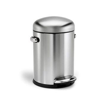 Odpadkový koš Simplehuman Retro koš do koupelny 4.5l, kulatý, matná ocel, FPP (CW1888)